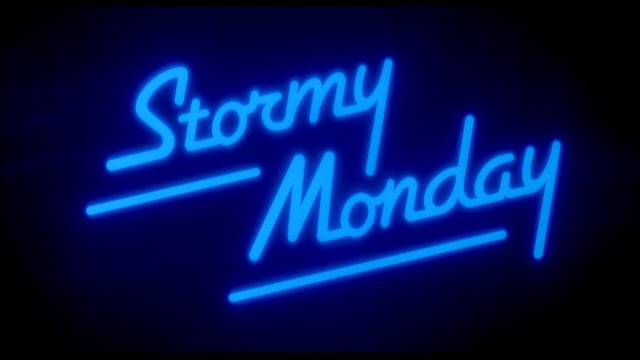 stormy monday neon title card