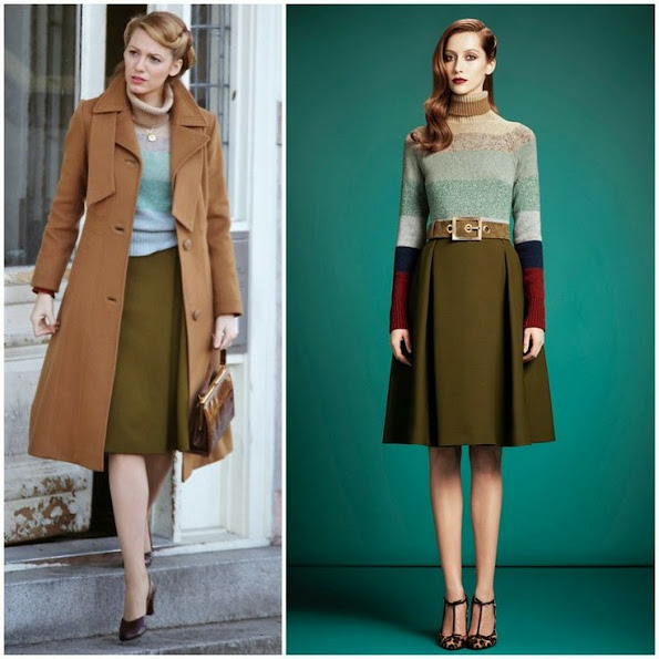 Blake Lively wears Gucci blouse and skirt for On The Set Of Age of Adaline