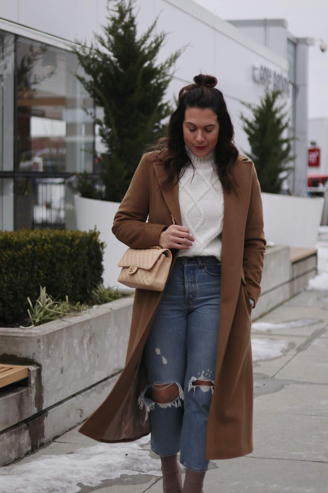 winter outfit camel wool coat levis wedgie jeans call it spring sock boots aleesha harris