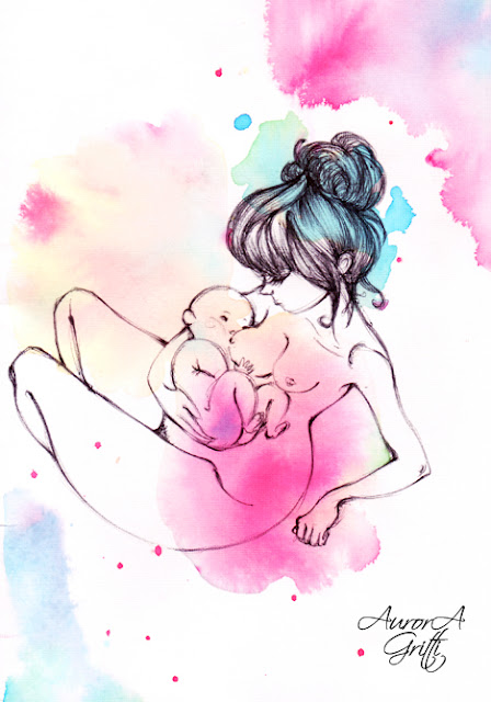mother and child, breastfeeding image inspired by maternity life and love