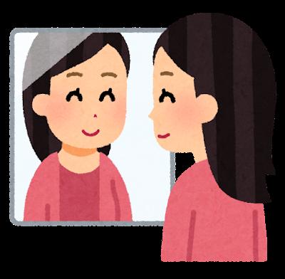 鏡を見る人のイラスト(笑顔の女性)