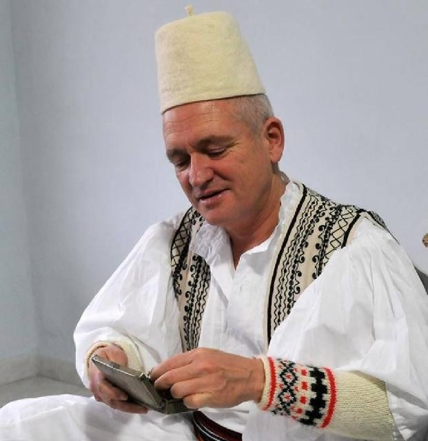 Robert Elsie dressed in Albanian traditional dressing