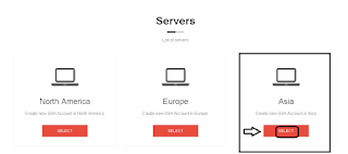 Pilih Akun SSH Server Asia