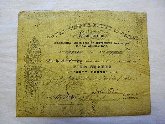 share certificate in Royal Copper Mines of Cobre Cuba