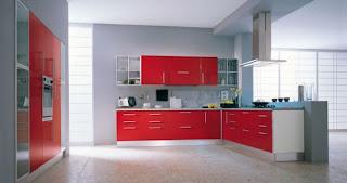 cocina roja diseño italiano