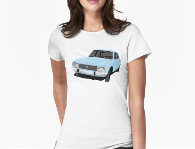 Classic Peugeot 504 t-shirt light blue