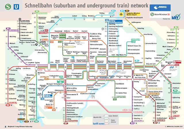 Plano de Metro y tren de Múnich