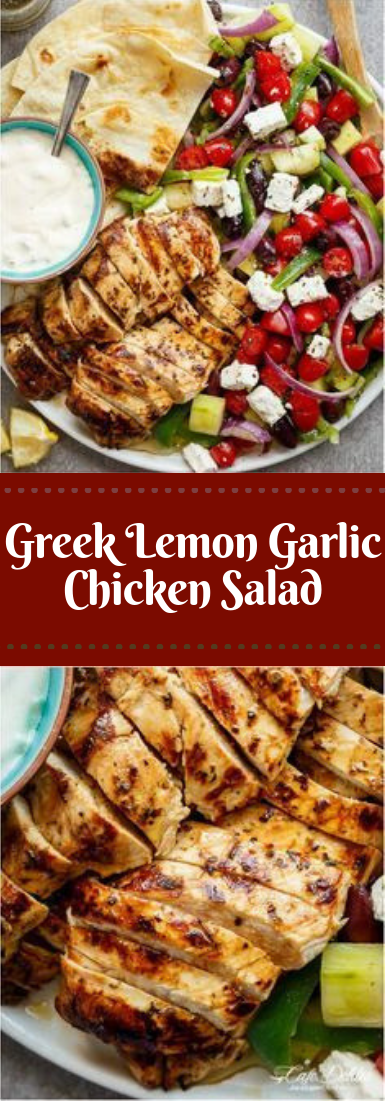 Greek Lemon Garlic Chicken Salad #dinner #recipe