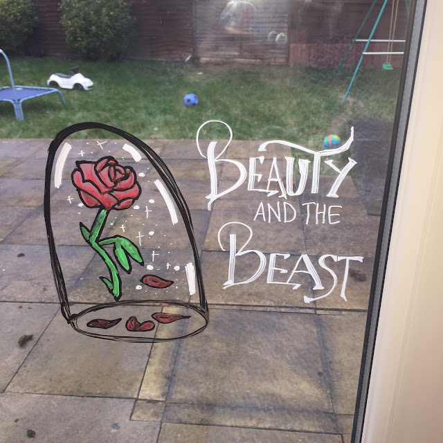 Beauty and the Beast rose using dry erase markers on window