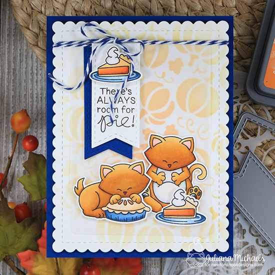 Thanksgiving cat card by Juliana Michaels | Newton's Thanksgiving Stamp Set and Pumpkin Patch Stencil by Newton's Nook Designs #newtonsnook #handmade