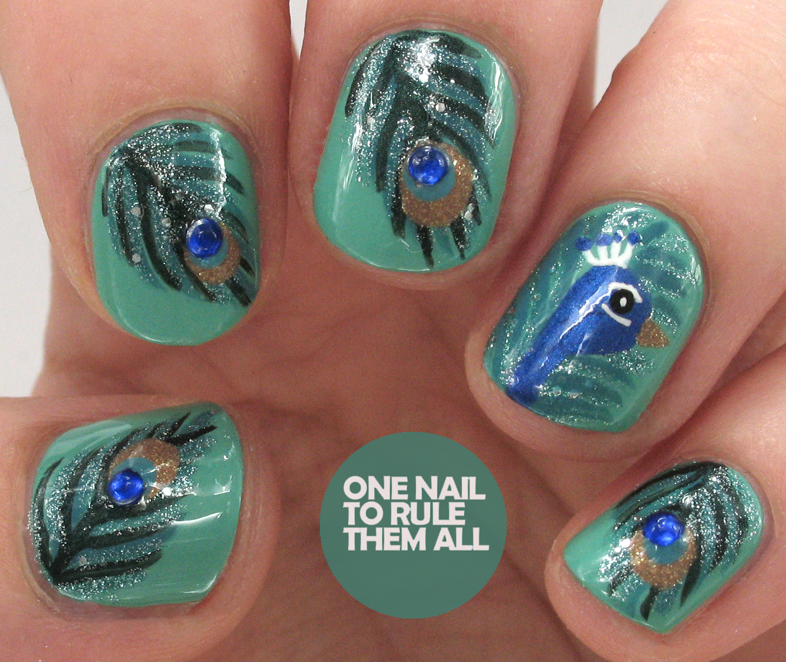One Nail To Rule Them All Peacock Nail Art For Avon Tutorial