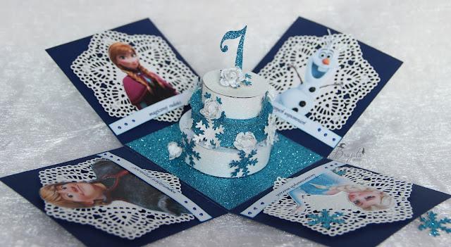 Kraina Lodu, Frozen, exploding box, pomysł na prezent dla dziewczynki, co na 7 urodziny dla dziewczynki