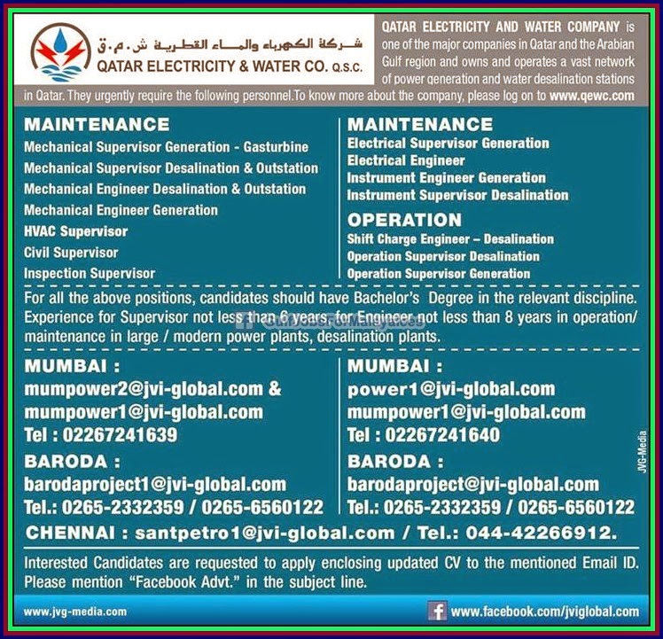 Qatar Electricity Amp Water Company Jobs Gulf Jobs For
