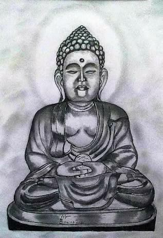 PENCIL DRAWING -  BUDDHA