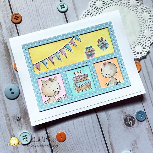 Birthday card using dies and digital stamps