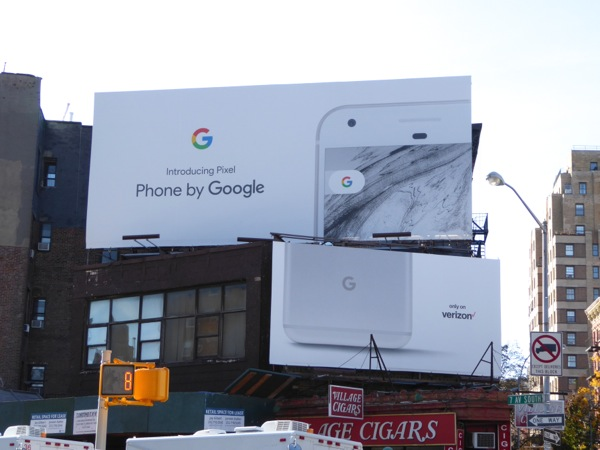 Google Pixel Phone billboard NYC