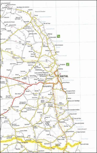 Mapa rodoviário com a localização de Natal