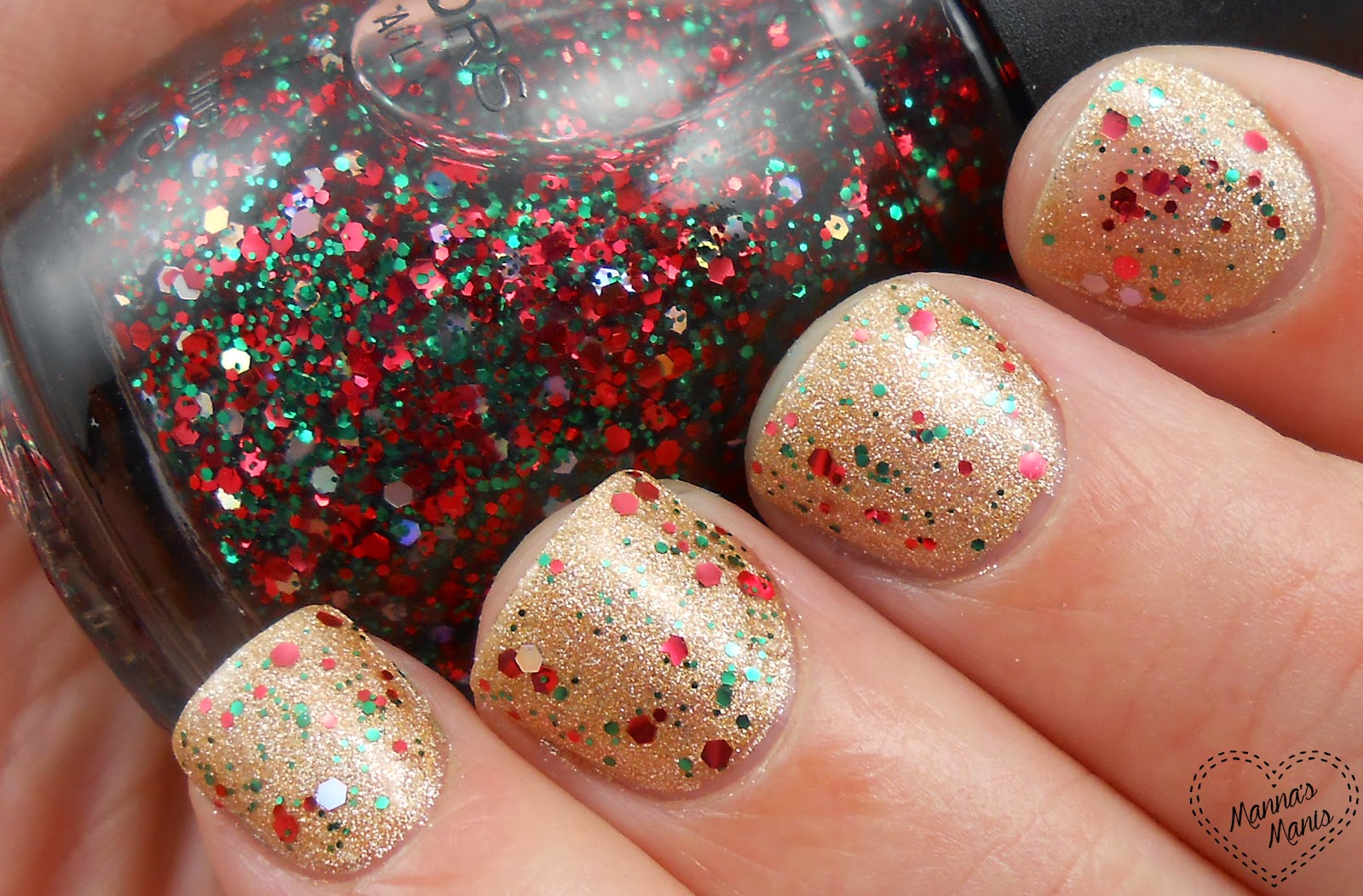sinful colors holiday rebel, a christmas colored glitter nail polish