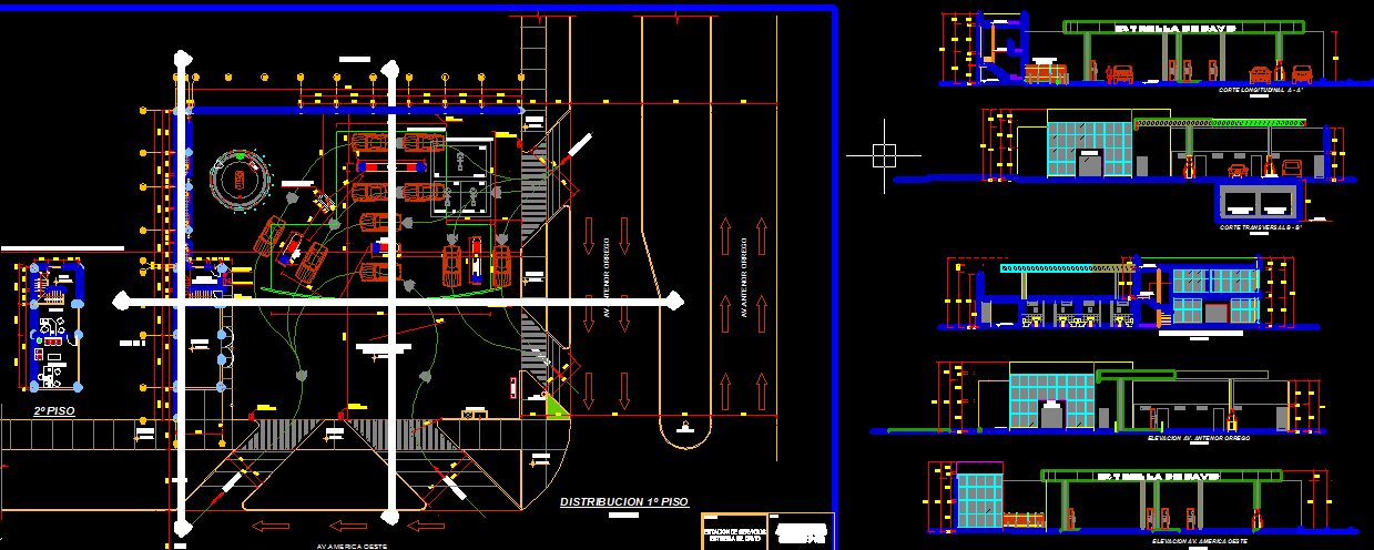 Car repair service center project AutoCAD drawings