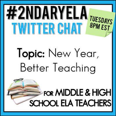 Join secondary English Language Arts teachers Tuesday evenings at 8 pm EST on Twitter. This week's chat will be about starting a new year with new ideas for teaching in the classroom!