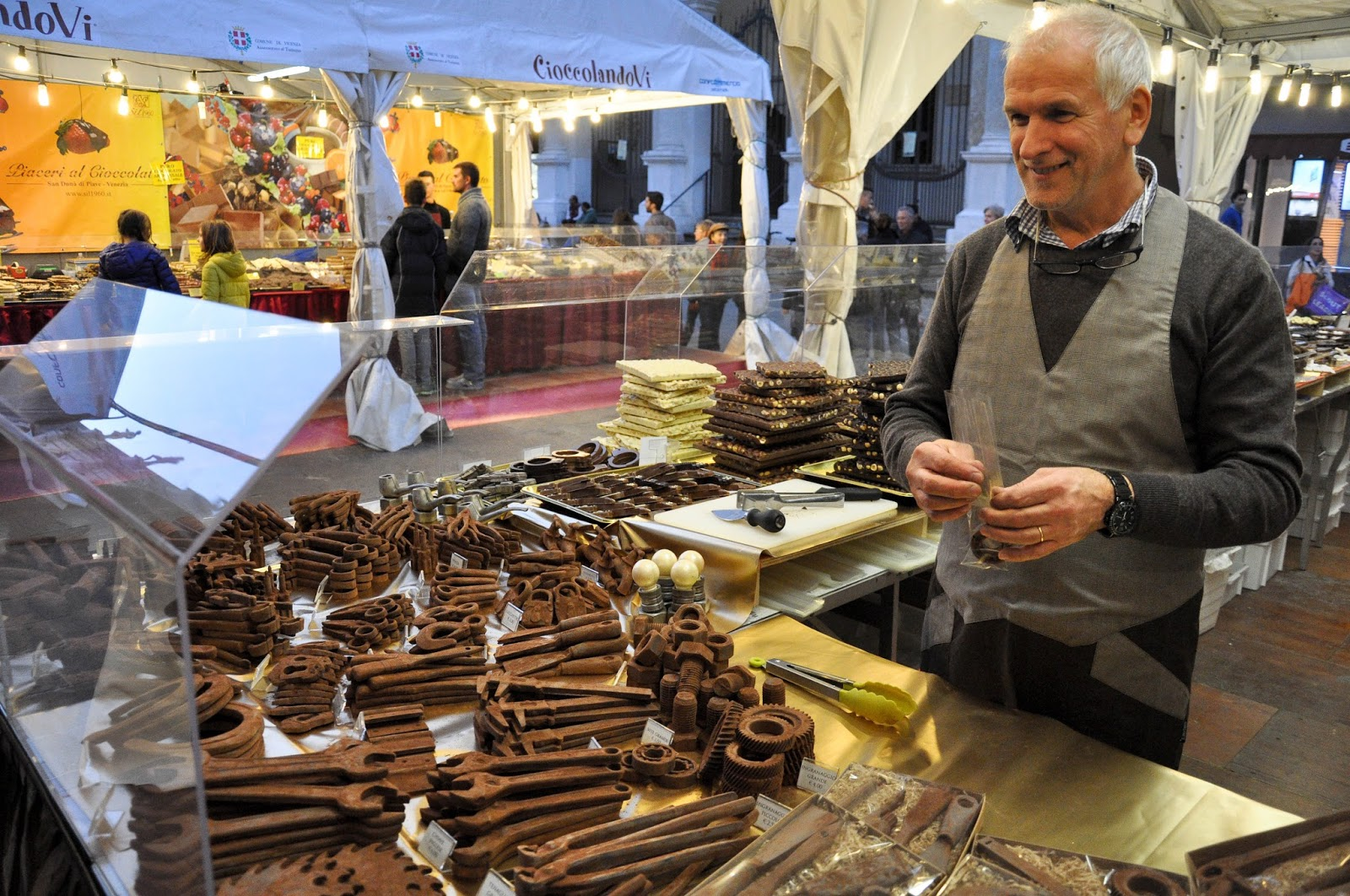 A chocolate maker, Chocolate Festival, Piazza dei Signori, Vicenza, Veneto, Italy