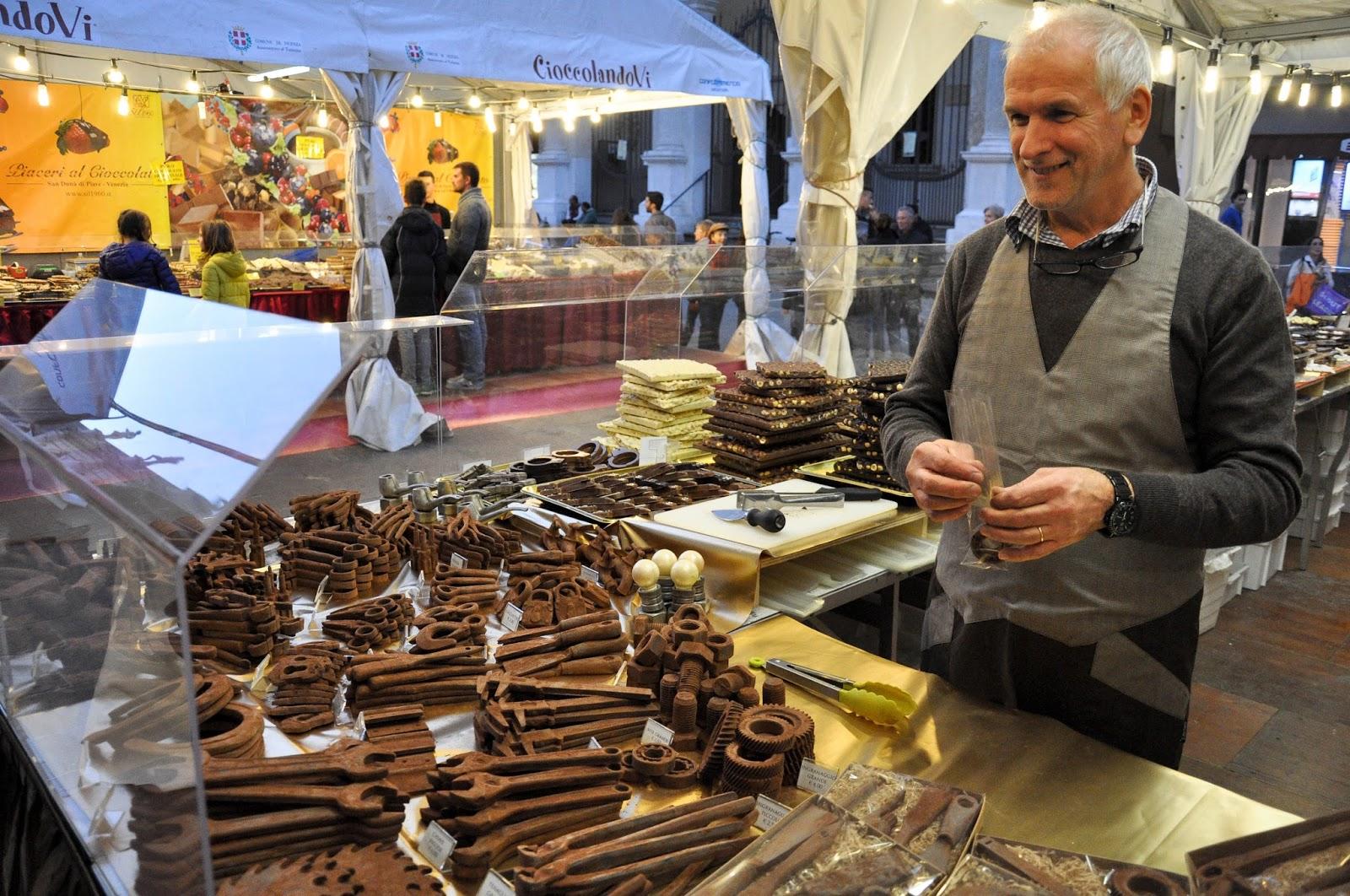 A chocolate maker, Chocolate Festival, Piazza dei Signori, Vicenza, Veneto, Italy