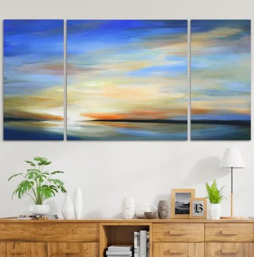 Sunrise by Beach Sea Art Prints