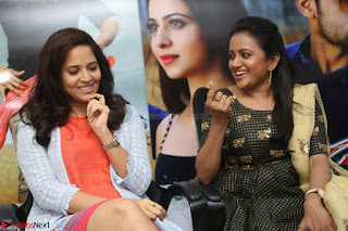 Actress Suma in Black Salwar Suit and Anusuya in orange Dress at winner movie press meet part 2 February 2017 (60).JPG