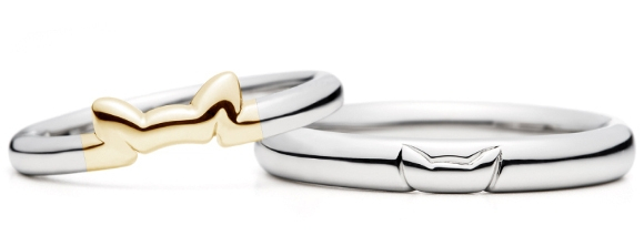 gold neko wedding rings