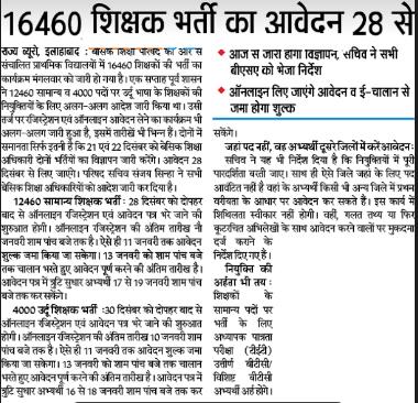 UP Basic Shiksha Parishad Recruitment