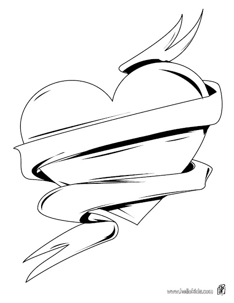 Hearts With Wings Coloring Pages Printable Hearts With Wings