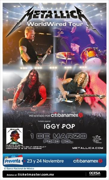 Metallica llegará con Iggy Pop al Foro Sol