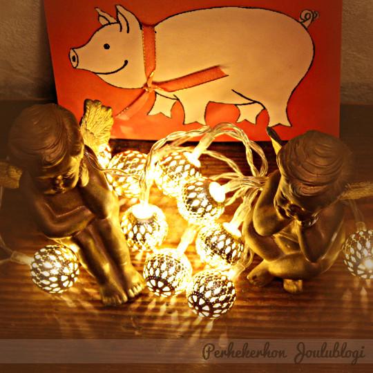 Kuva: Askartele possu-aiheinen joulukortti lasten kanssa