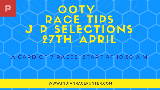 Ooty Race Selections 27th April, Trackeagle, Track eagle