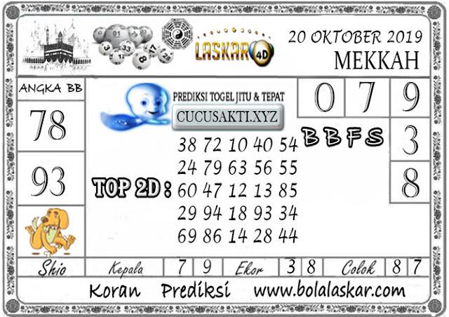 Prediksi Togel MEKKAH LASKAR4D 20 OKTOBER 2019