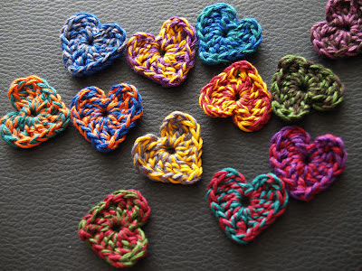 Handmade colourful hearts