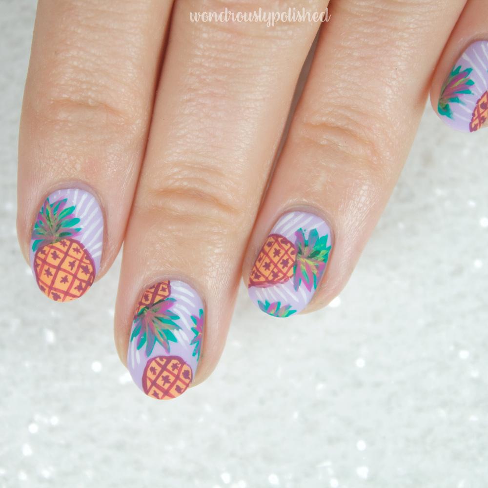 Wondrously Polished: Erin Condren Inspired - Pineapple Punch Nail Art