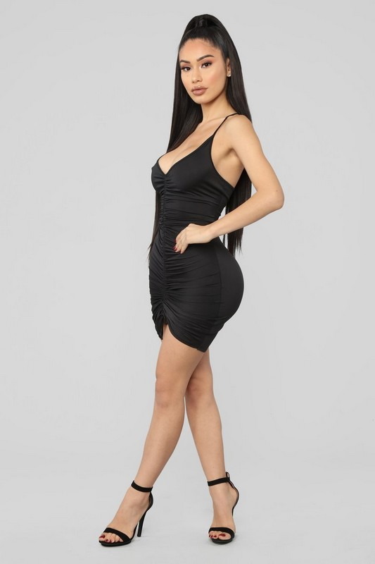 e58b36ef133 Shanghai Ruched Dress - Black  19.99