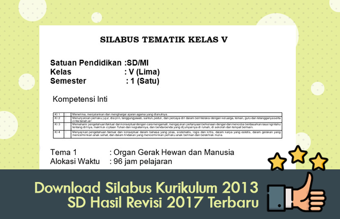 Download Silabus Kurikulum 2013 SD Hasil Revisi 2017 Terbaru