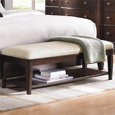 Wood and cream leather bench with shelf