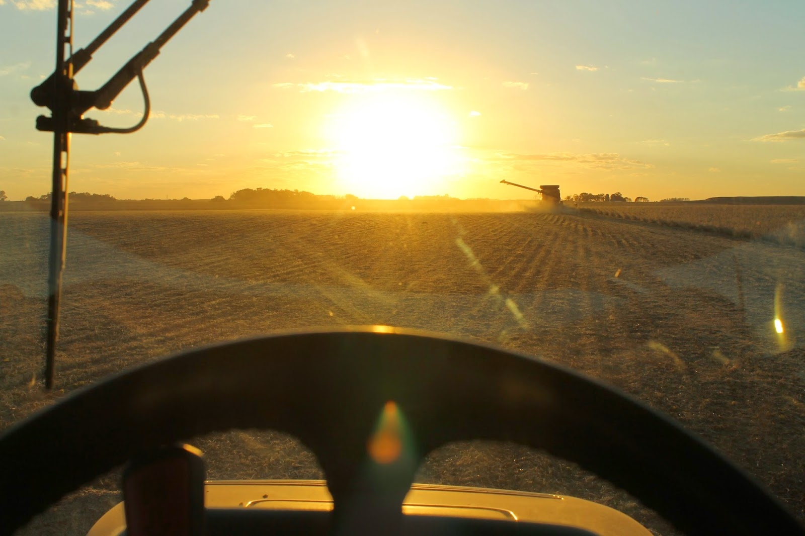 Views from my Tractor Seat - Combining Soybeans at Sunset
