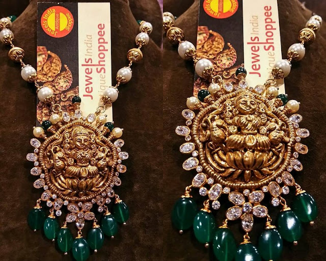 Lakshmi Pendant with Emerald Drops