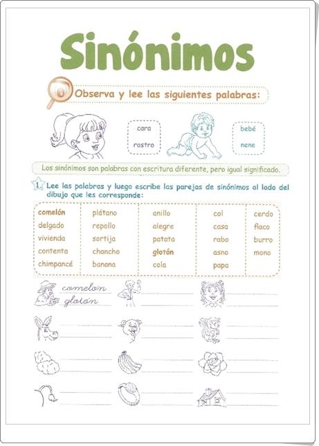 """Razonamiento Verbal: """"Sinónimos"""" (Cuadernillo de Lengua Española de 1º de Primaria)"""