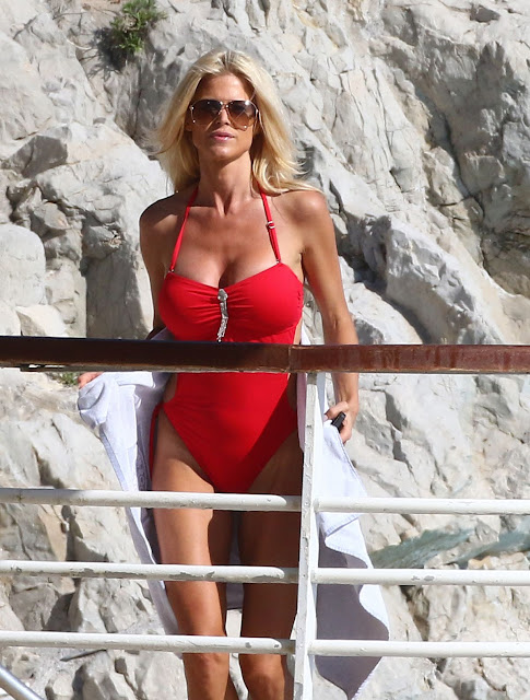 Actress, Singer, Model, @ Victoria Silvstedt in Swimsuit at Her Hotel in Vannes