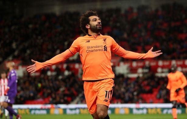 Mohamed Salah celebrates goal for Liverpool