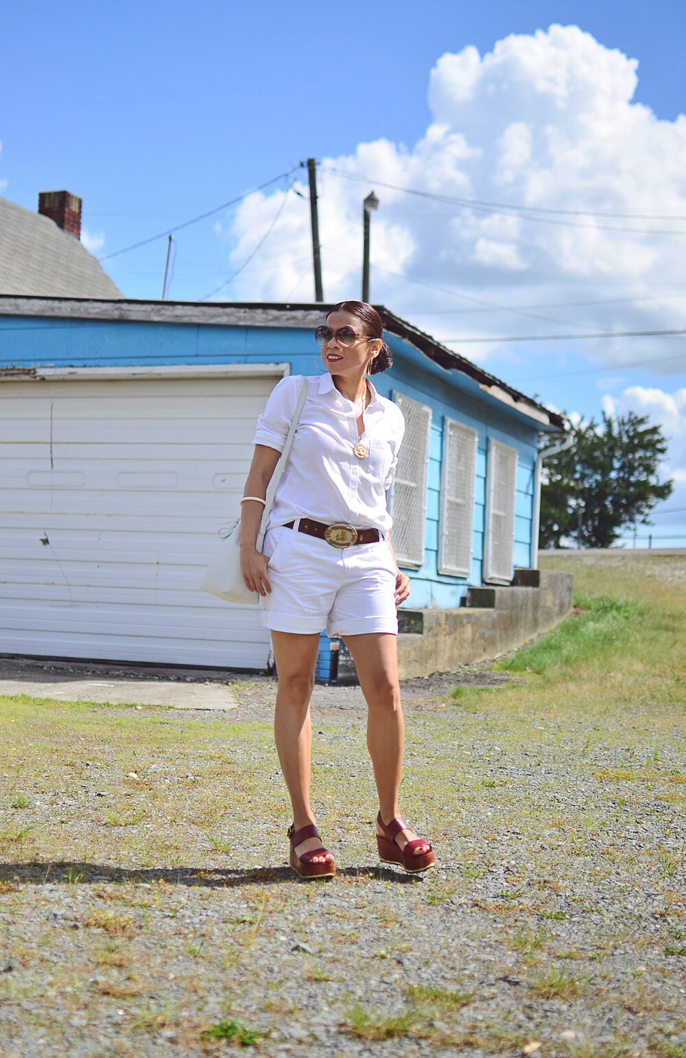 Outfit with white shirt and white shorts