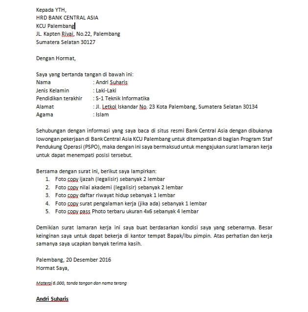 Contoh Surat Lamaran Kerja Pabrik Triplek Contoh Surat