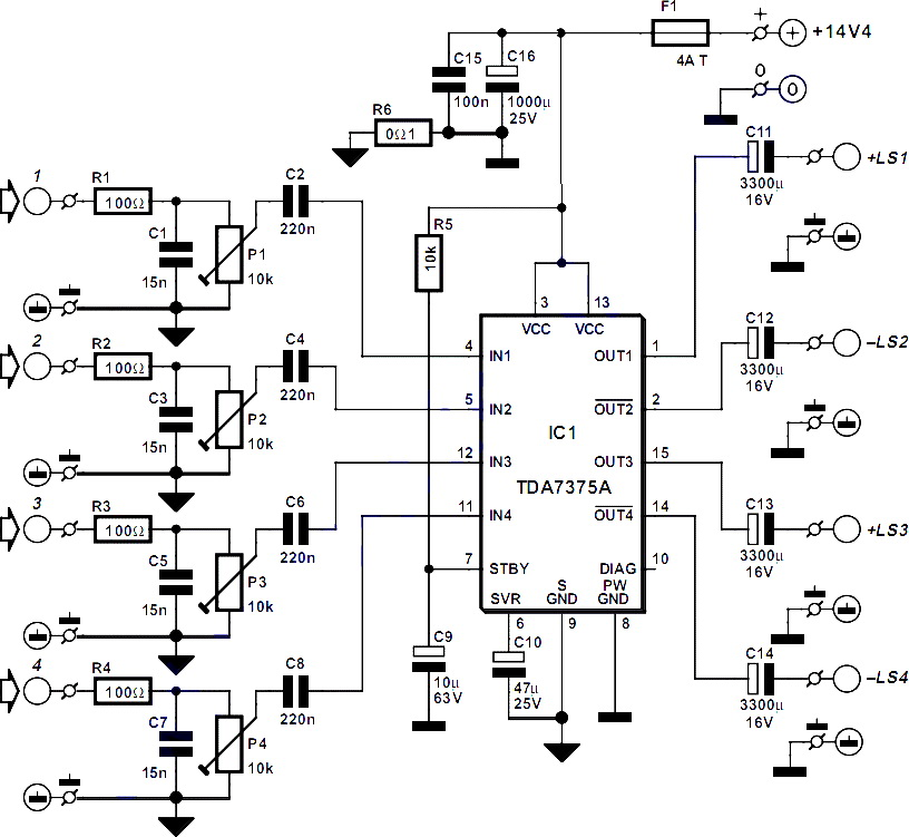 Electronics Circuit Application : TDA7375A IC Amplifier