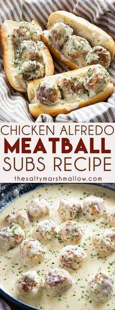CHICKEN ALFREDO MEATBALL SUBS #Chicken #Alfredo #Meatball #Subs #deleciousrecipe #Healthydinner #Easyrecipe #Easydinner #Quickbreakfast