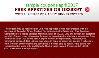 Red Lobster coupons april 2017